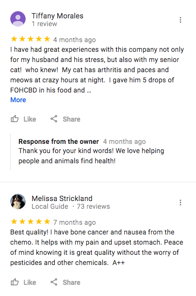 Google Reviews about Fountain of Health CBD