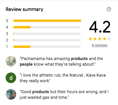 Pachamama CBD Reviews on google